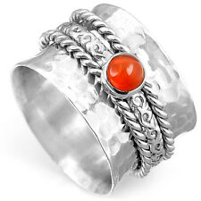 Spinner Sterling Silver Ring 925 Solid Carnelian Gemstone Genuine Wide Band Size