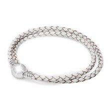 White Leather Silver Bracelet Fit NEW European Jewelry 925 Sterling Charm Beads