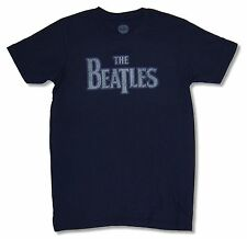 """THE BEATLES """"PURPLE OUTLINE"""" NAVY BLUE ADULT T-SHIRT NEW OFFICIAL BAND MUSIC"""