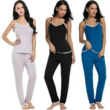 Women Soft Sleepwear V-Neck Lace Tank Cami Top and Pants Pajama Set