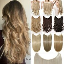 UK Invisible Secret Wire in Thick Weft Clip In Full Head Hair Extensions Wavy UK