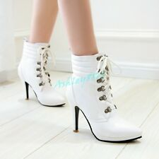 Sale Womens Elegant Lace Up Synthetic Leather Stilettos High Heels Boots OL Chic