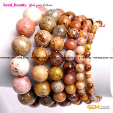 Natural Multi Sea Agate Stone Beads Healing Beaded Jewelry Elastic Bracelet 7""