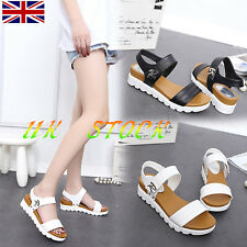 UK Womens Casual Flat Anti Skid Sandals Summer Beach Flatform Ankle Straps Shoes