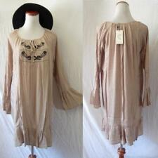 NEW Peasant BROWN Embroidered Mexican BELL SLEEVE Hippie FESTIVAL Ruffle DRESS