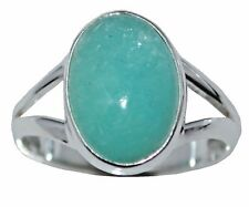 925 Sterling SILVER Natural Amazonite Gemstone Ring Size L 5½ to Y 12, Solitaire