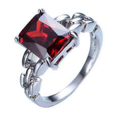 8*10MM Ring Size 6-11Red Garnet Women's Zircon 10Kt White Gold Filled Engagement