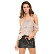 Women Solid Spaghetti Strap Half Sleeve Sexy Off Shoulder Top Blouse DZ88