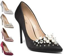 LADIES  HIGH HEEL SMART WORK PARTY DIAMANTE PEARL POINTED COURT SHOES PUMPS SIZE