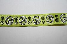 1 4 or 10 yards Lime Green Black Peace Signs stretch foldover elastic FOE 5/8""