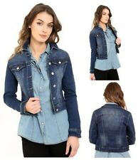 New Womens Cropped Mid Wash Blue Stretch Denim Long Sleeve Lightweight Jacket