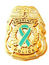 Teal Ribbon Pin Police Badge Awareness Security Sheriff Officer Gold Plated New