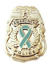 Teal Ribbon Pin Police Badge Awareness Security Sheriff Officer Nickel Plated