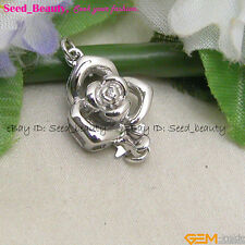 Women Fashion White Gold Plated Crystal Inlayed Flower Clasp 12mmx18mm