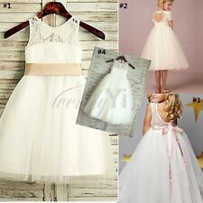 Floral Girl Dress Lace Tulle Wedding Party Bridesmaid Dress Princess Formal Gown