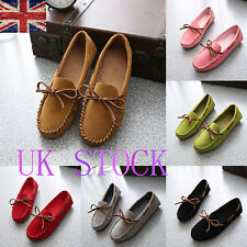 UK Womens Ladies Slip On Loafers Moccasins Casual Flats Shallow Mouth Work Shoes