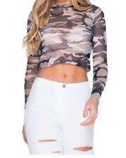 New Womens High Neck Camouflage Long Sleeve Mesh See Through Crop Top