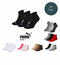 Puma Socks Quarter Sneakers Trainers Ladies, Men's Pack of 6 sizes 35-46 -