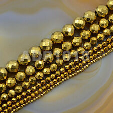 Faceted Gold Hematite Gemstone Round Ball Beads 16'' 2mm 3mm 4mm 6mm 8mm 10mm
