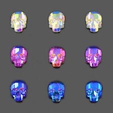 10 x 7.5mm Crystal Rhinestone Skull Flatbacks Crystal Blue Rose No-Hotfix
