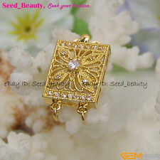 Wholesale 2 Strands Yellow Gold Plated Crystal Inlayed Clasp