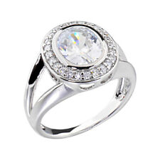 3 Carats Oval Cubic Zirconia Platinum Tone Brass Engagement Wedding Ring