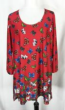 Womens Butterfly Tunic Blouse Plus size 1X Red Slinky Modest Slim