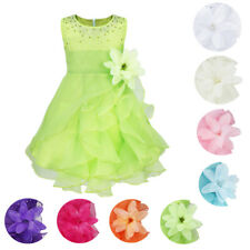 Baby Girls Flower Organza Tutu Dress Party Princess Wedding Pageant Baptism Gown