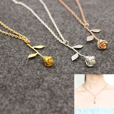 Charm Delicate Rose Flower Pendant Necklace Beauty Rose Gold Silver Jewelry U
