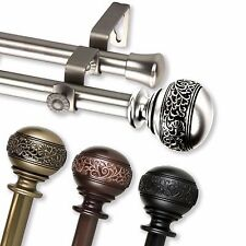 "Nadeen Double Curtain Rod 3/4"" OD #87 choose from 4 color, 28""-170"""