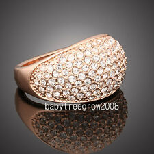 18k Rose Gold GP Clear Crystal Cocktail Ring M72