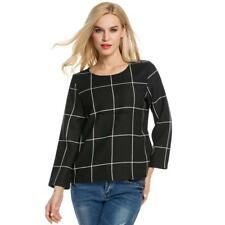 Women Long Sleeve Plaid Blouse Polyester Slim Casual OL Tops SO6H