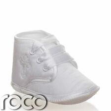 Baby Boys Shoes White Cross Christening Soft Sole Shoes Age 0 - 12 Months