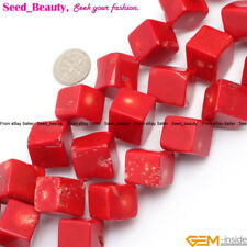 """Square Cube Gemstone Red Coral Stone Beads Jewelry Making Design Beads 15"""" Dyed"""