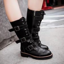 Womens Pu leather Mid Calf Combat Boots Military Lace Up Buckle Side Zip Shoes
