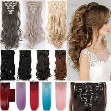 Full Head Real Natural Clip In Hair Extensions Long Straight Curly As Human TE4