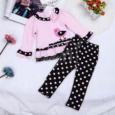 2pcs Baby Girls Polka Dots Top Long Sleeve Shirt+Pants Infant Outfit Trouser Set