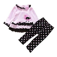 2 Pcs Infant Baby Girl Outfit Clothes Ruffled Top Shirt Pants Trousers Party Set