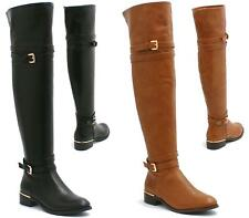 WOMENS LADIES FLAT LOW HEEL OVER THE KNEE THIGH HIGH FAUX LEATHER RIDING BOOTS S