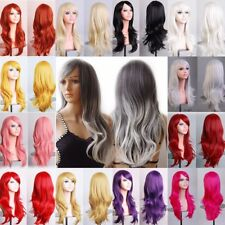 WOMENS LADIES LONG WAVY LAYER FANCY DRESS COSPLAY WIGS POP PARTY COSTUME CHEAP A