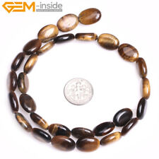Natural Flat Olivary Oval Tigers Eye Stone Loose Beads Jewelry Making Strand 15""
