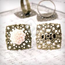 5/10pcs Antique Brass Ring Mountings Setting Jewellery Square/Flower/Flat Round