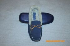 NEW Polo Ralph Lauren Blue Suede Leather Shearling Slippers 8 9 10 13