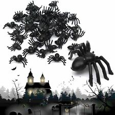50/100pcs Plastic Black Spider Trick Toy Halloween Party Haunted House Decor