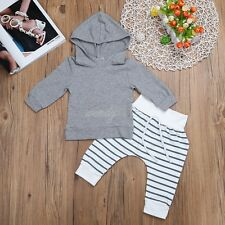 Newborn Toddler Kids Baby Boys Stripe Outfit Clothes T-shirt Tops+Pants 2PCS Set