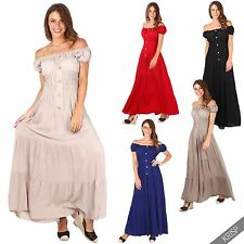 Women Embroidered On Off Shoulder Boho Hippie Shirred Tiered Long Maxi Sun Dress