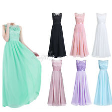 Womens Long Chiffon Evening Formal Party Ball Gown Prom Bridesmaid Lace Dress