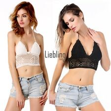 Hot Fashion Women Sexy Halter Hollow Out Lace Up Crochet Knit Beach LEBB