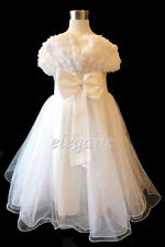 White Rosette Pageant Wedding Flower Girls Dress Gown Size 3-12 Age 2-13 T