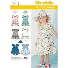 SIMPLICITY SEWING PATTERN TODDLERS DRESSES & HAT 3 SIZES 1/2 - 4 1449